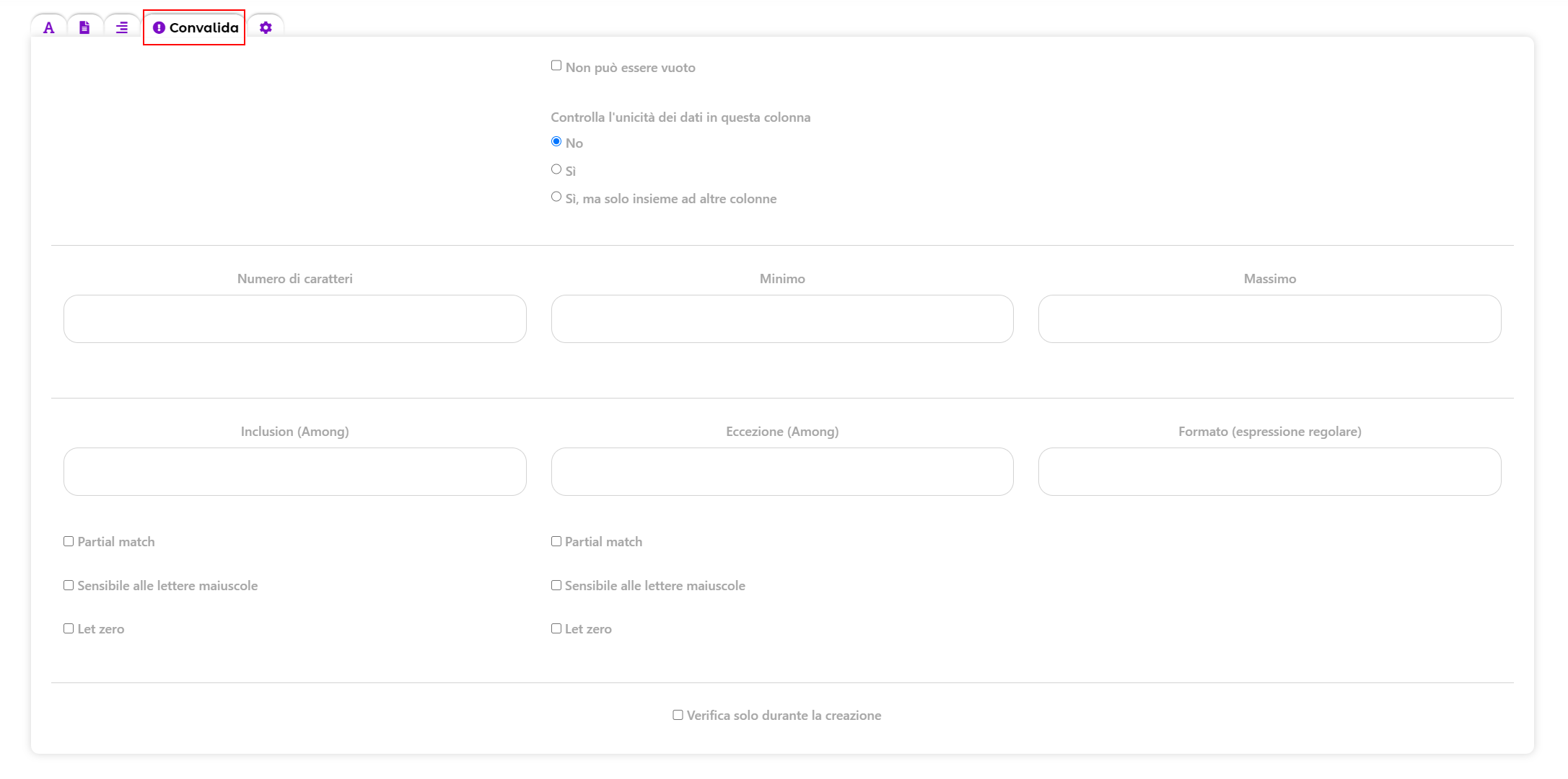 Data validation. Different validation option for web form fields