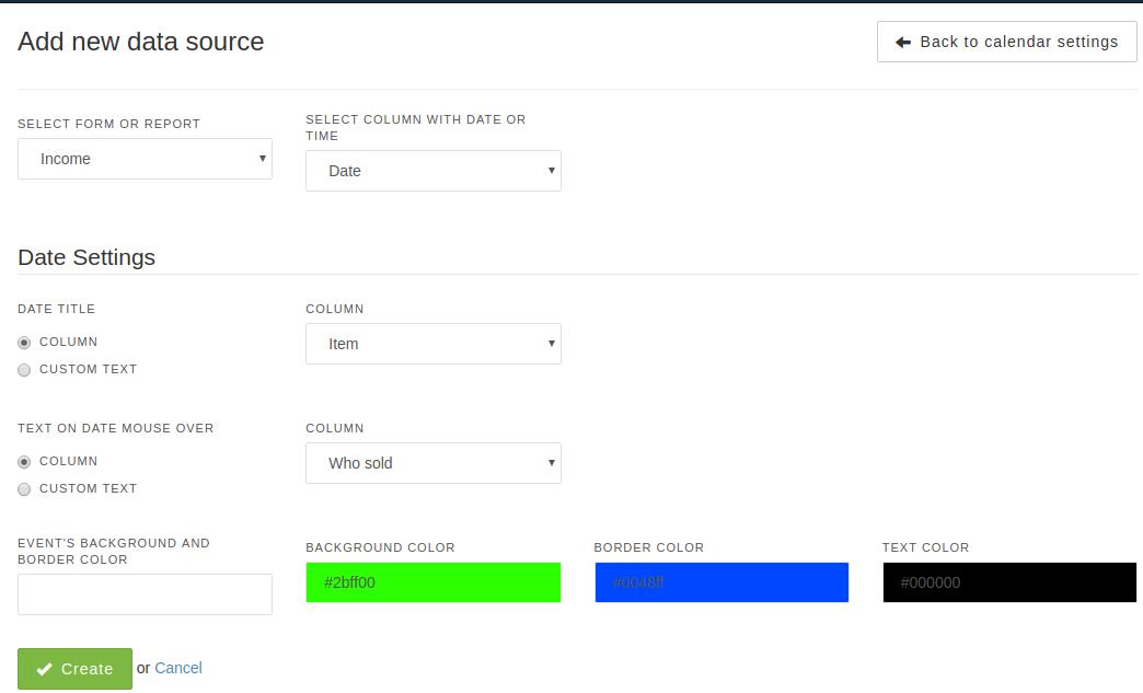 Add new data source to Calendar