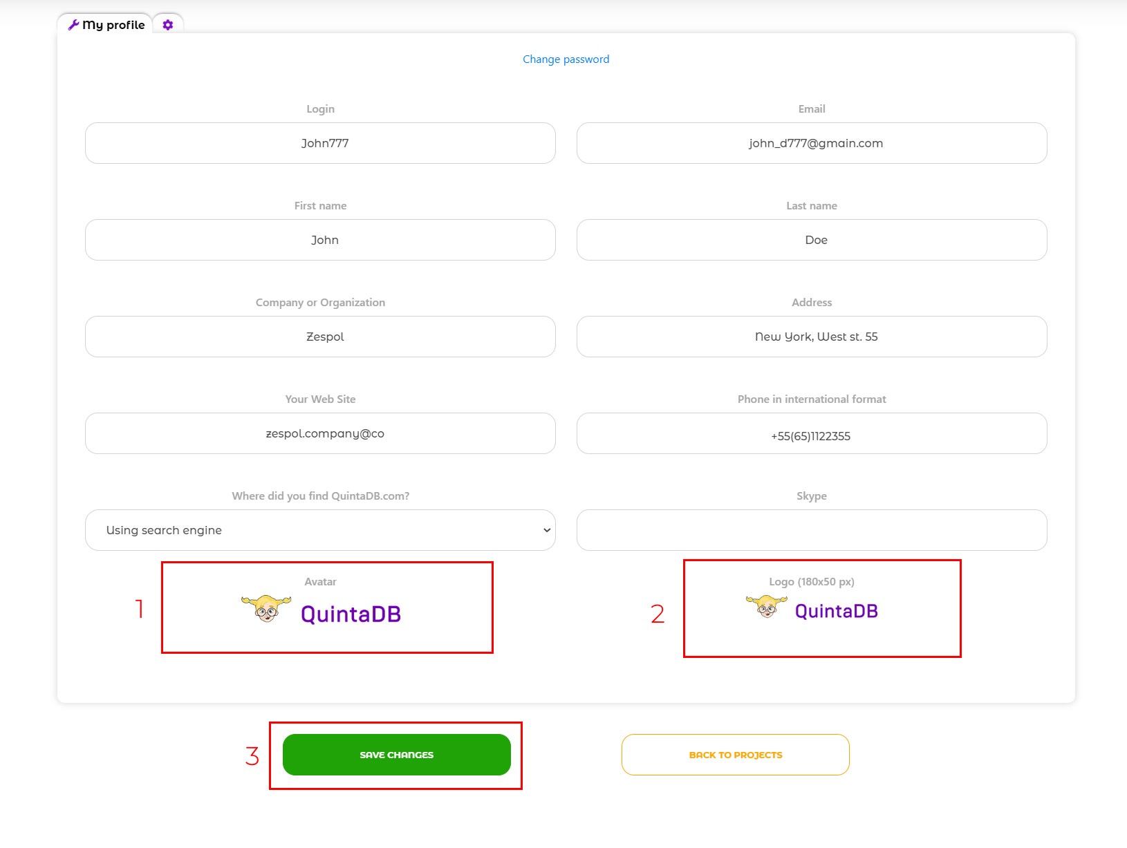 Upload your company logo option