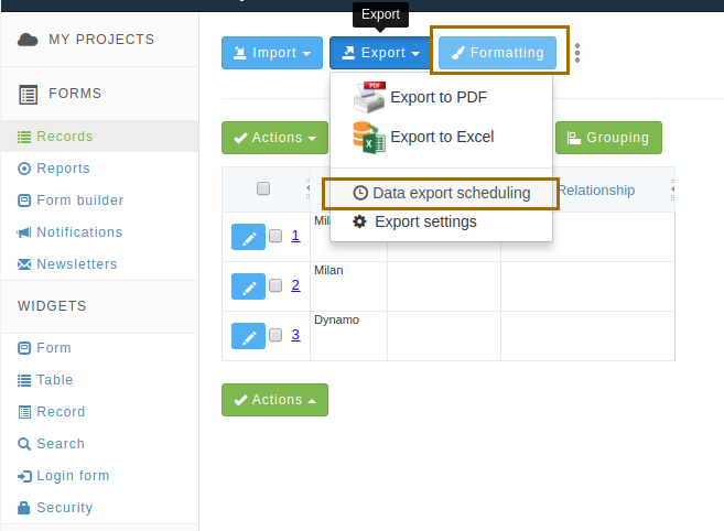 Data export and Formattings links