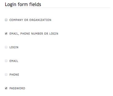 Login form fields