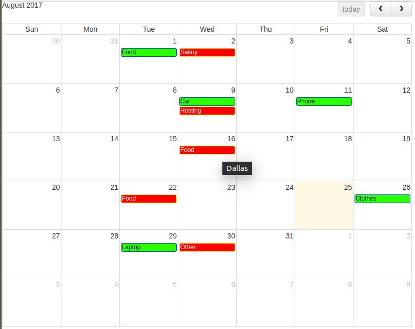 Income and Expenses Calendar
