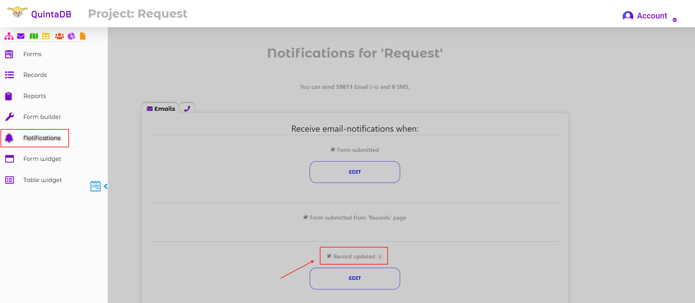 Updated records email and SMS notifications