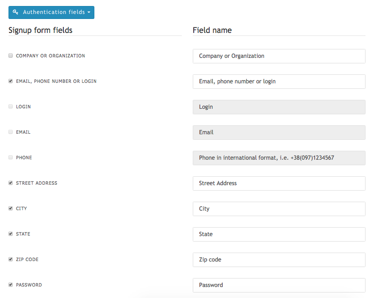 Portal's signup form fields