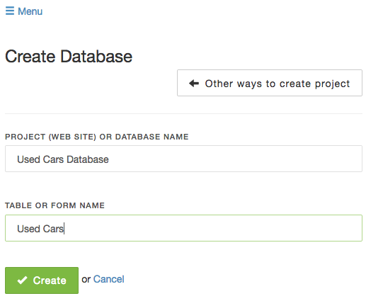Create MTH database from scratch