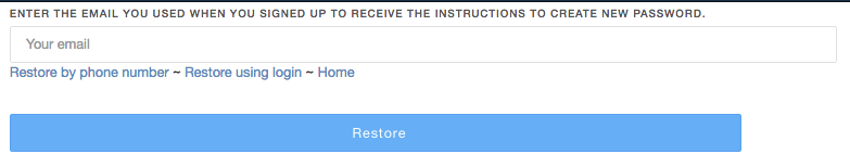 Reset password page