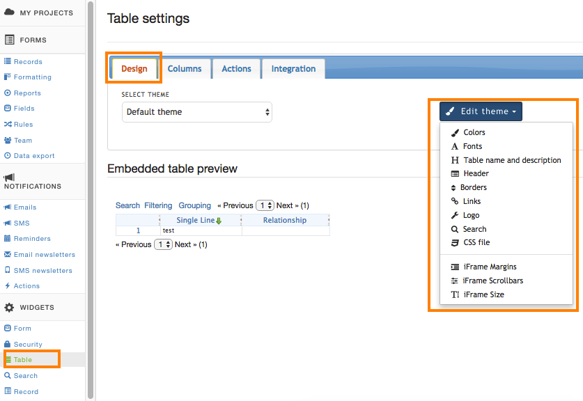 Table widget design options