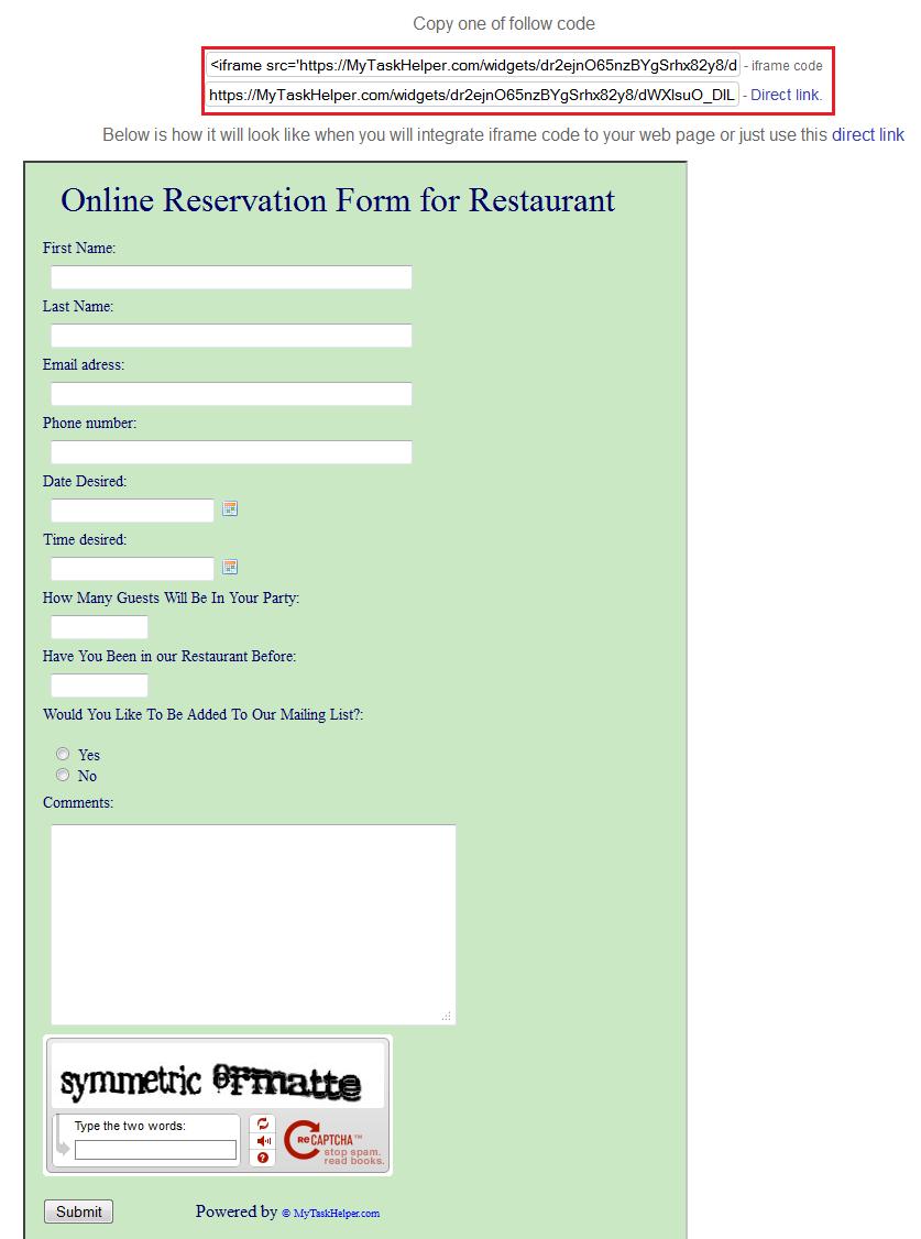Online Reservation Form