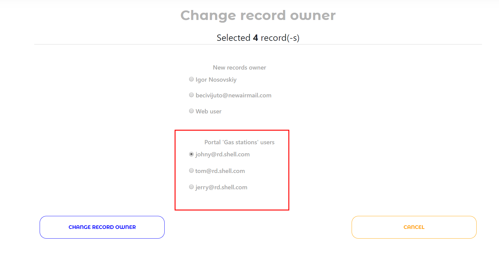 Change record owner