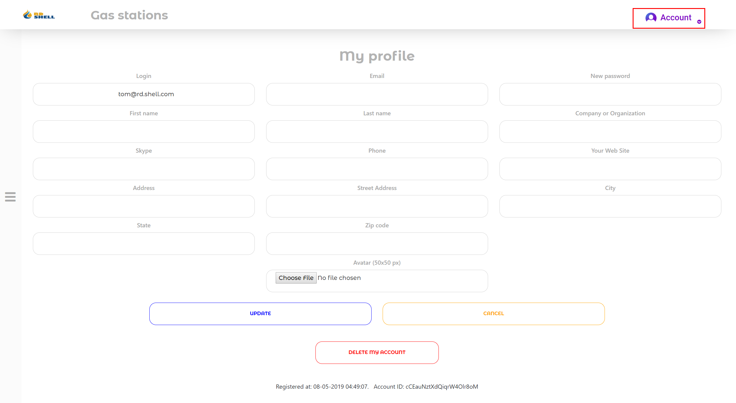 """门户网站用户的""""帐户""""页面"""