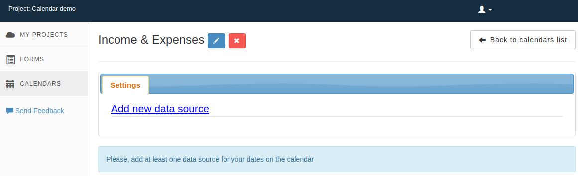 Where to add data source to calendar