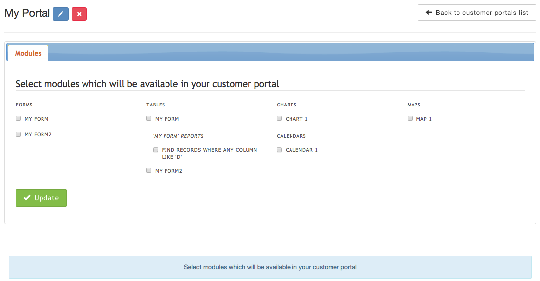 Select modules which will be available in your customer portal