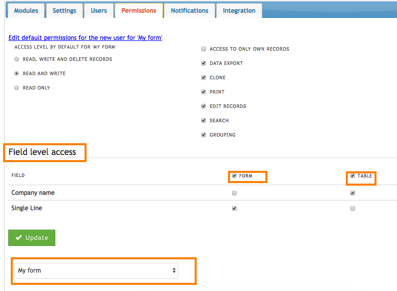 Default per module and per field and column permissions