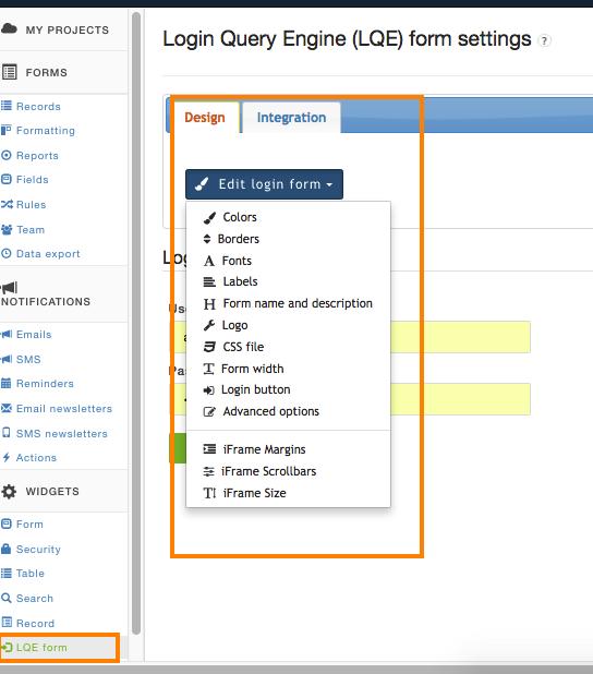 LQE design settings