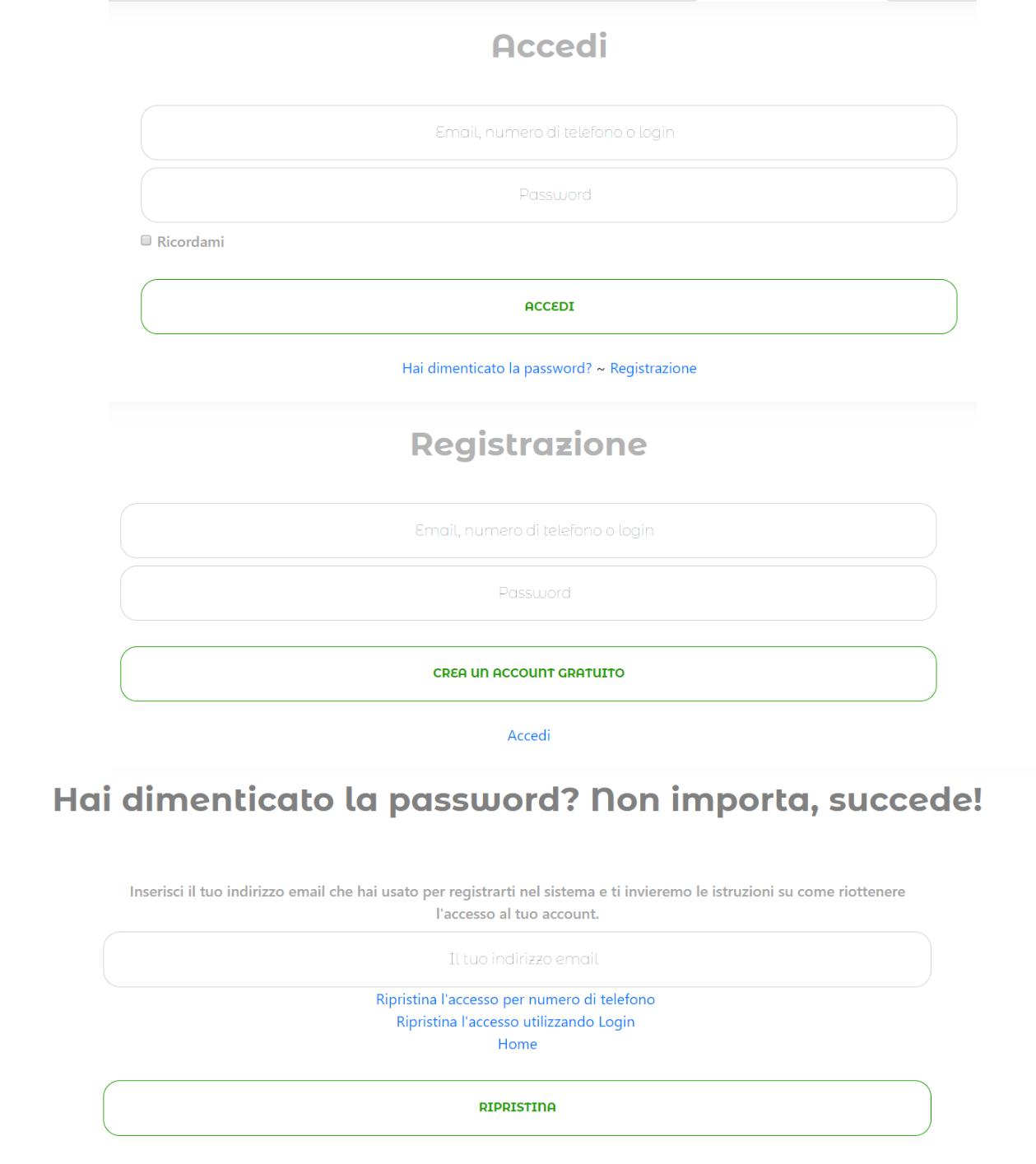 Pagina di reimpostazione della password