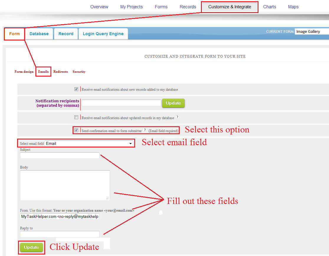 How to send confirmation email to form submitter
