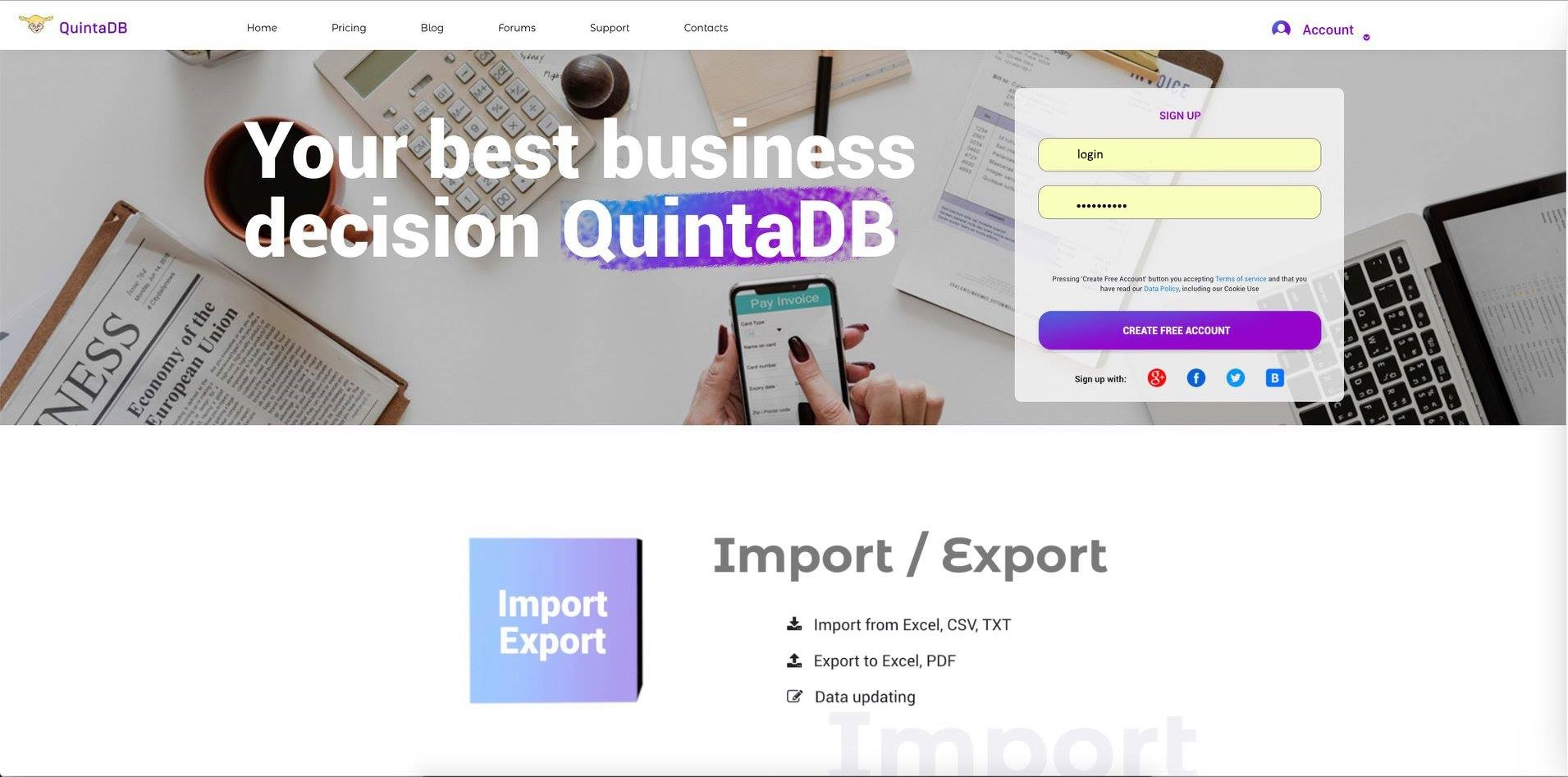 QuintaDB login page